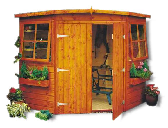 Garage shelving diy how to build a 10 39 x10 39 shed corner for Corner garden shed designs