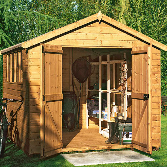 Wooden garden sheds build your own shed blueprints for Shed office interior