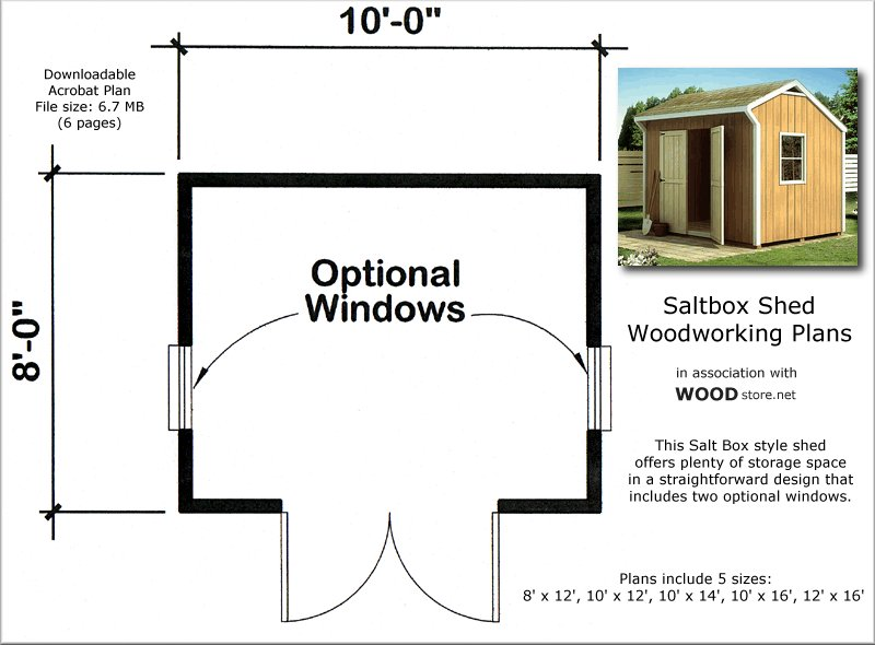 Dahkero saltbox sheds plans for 10x8 shed floor plans