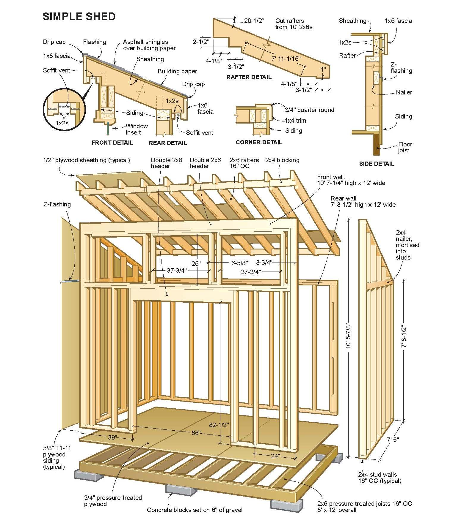 shed plans can have a variety of roof styles