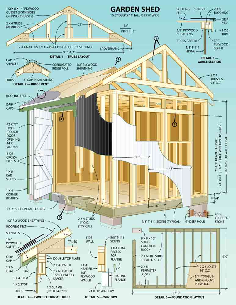 8x8 gable storage shed plans anakshed for Shed house layout