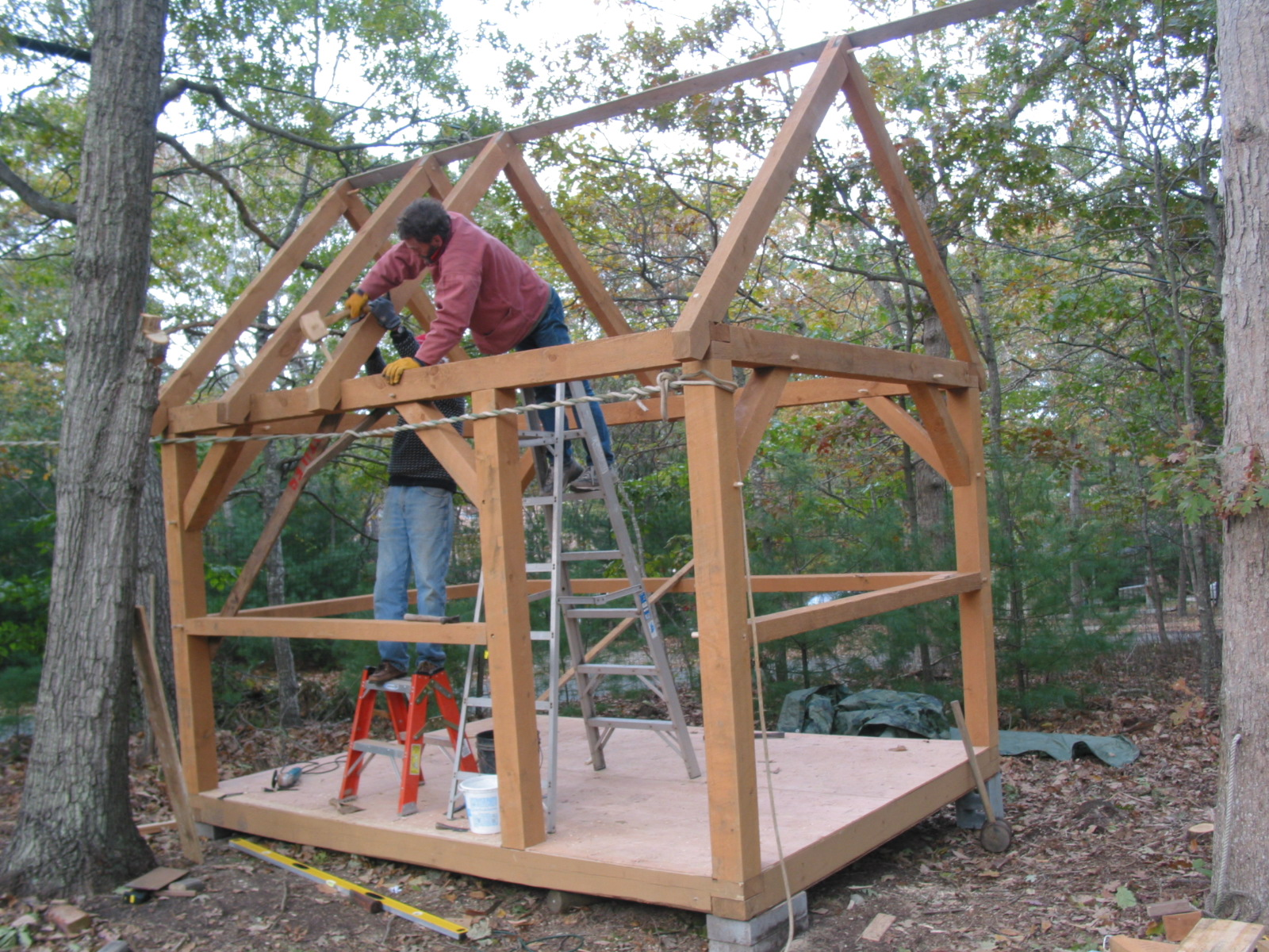 Shed blueprints acquire do it yourself storage shed for Timber frame designs