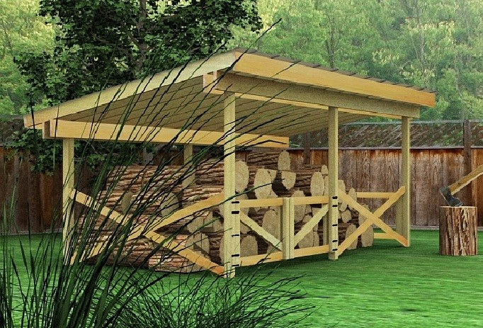 Buy build your own firewood storage shed for Wood shed plans