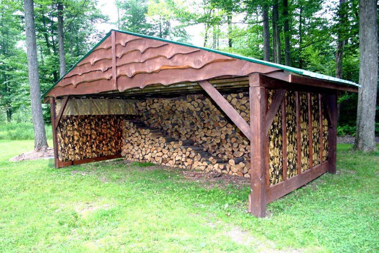 outdoor firewood storage shed